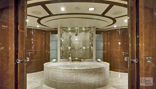 Tuscan sun luxury crewed charter megayacht yacht nassau Luxury master bathroom suites