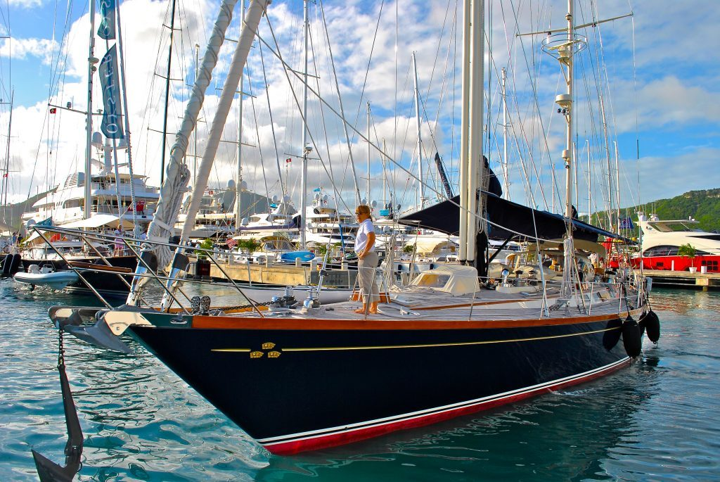 Sailing Yachts for luxury charter at Falmouth Harbor, Antigua