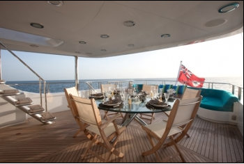 Luxury Charter Yacht Just Enough Aft Deck Dining