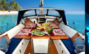 The British Virgin Islands, Luxury Sailing Charter Yacht Elvis Magic cockpit dining