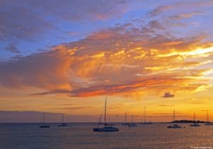 St. Martin Family Luxury Yacht Charter Vacation, Sunset Simpson Bay