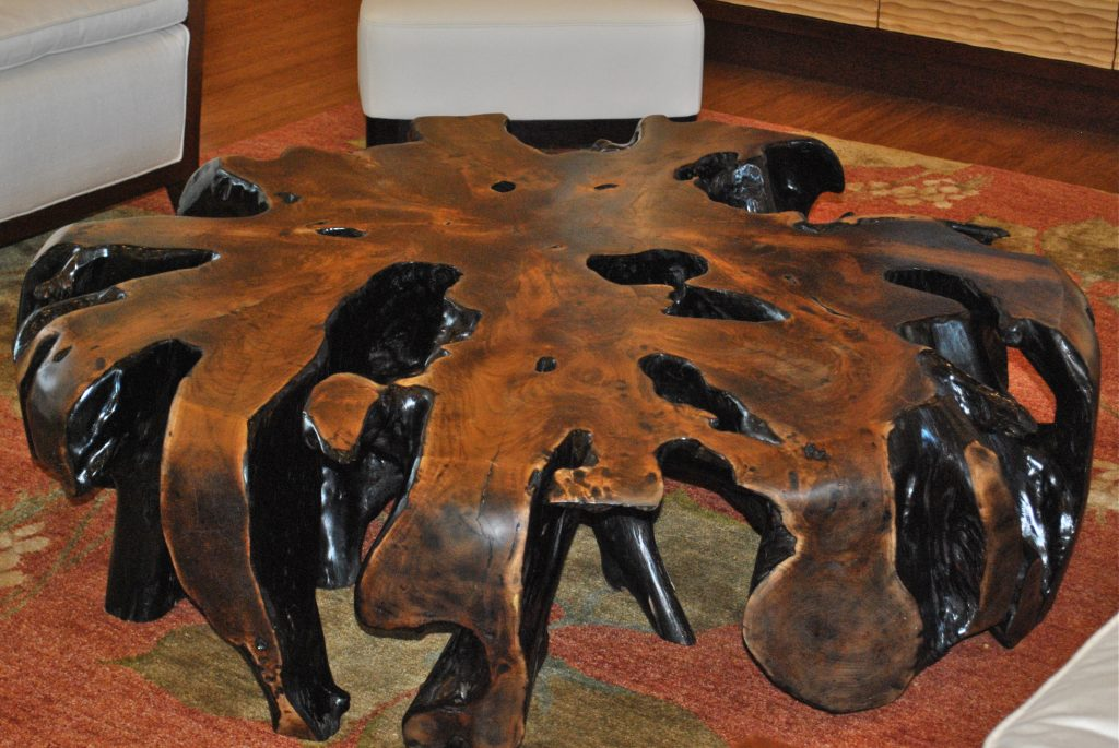 arianna luxury charter megayacht salon burl wood table