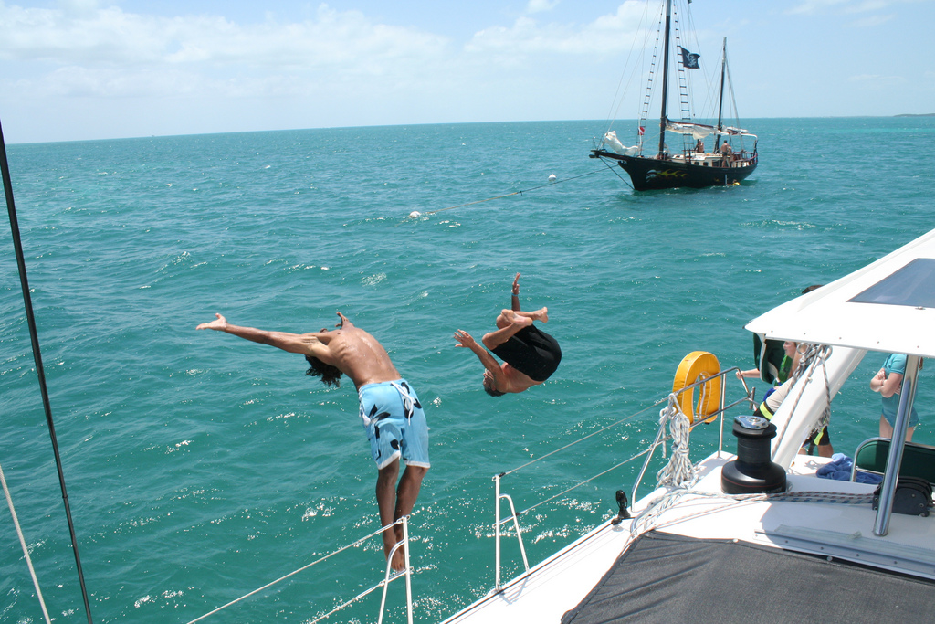 Flippin' out on Catamaran Amazing Grace
