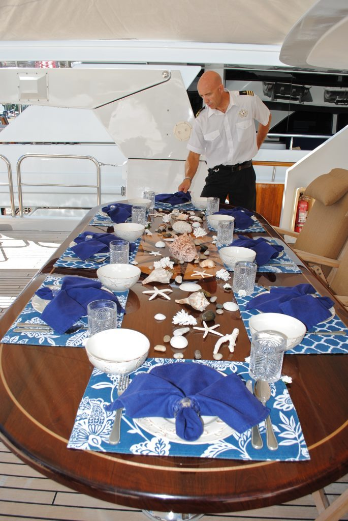 Charter Yacht Show, Table Setting, Luxury Charter Yacht Chief Stew