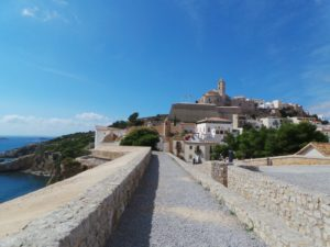 Balearics, ibiza town, fort, Spain harbor, charter sailing yachts